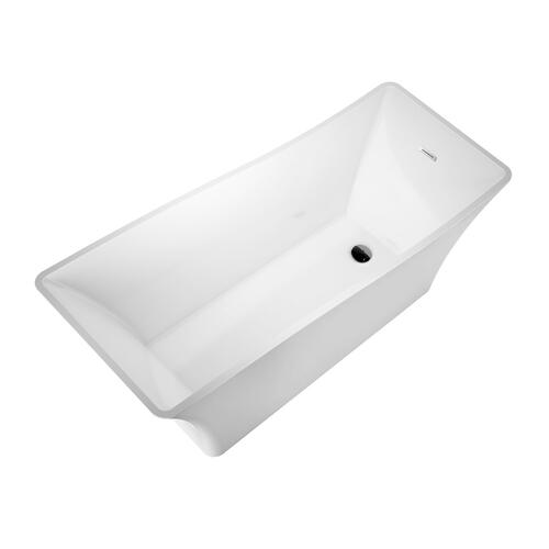 "Melanie 68"" Acrylic Slipper Tub with Integral Drain and Overflow - Polished Chrome Drain and Overflow"