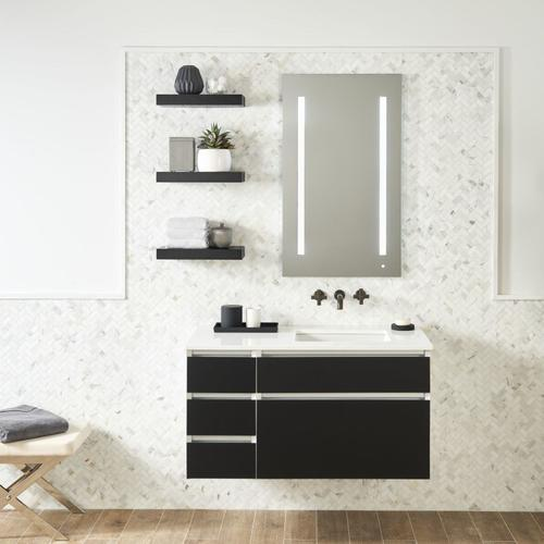 "Cartesian 30-1/8"" X 7-1/2"" X 18-3/4"" Vanity In Ocean With Slow-close Plumbing Drawer and Night Light In 5000k Temperature (cool Lighting); Vanity Top and Side Kits Not Included"