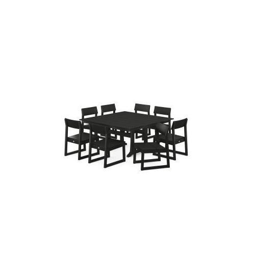 Polywood Furnishings - EDGE 9-Piece Farmhouse Trestle Dining Set in Black
