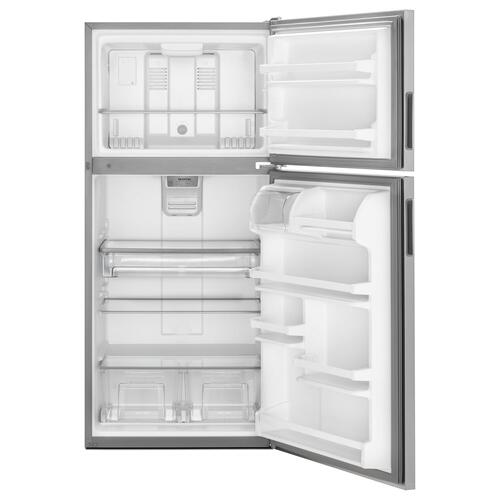 Maytag - 30-Inch Wide Top Freezer Refrigerator with PowerCold® Feature- 18 Cu. Ft. Monochromatic Stainless Steel