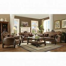 ACME Versailles Sofa w/5 Pillows - 52100 - 2-Tone Light Brown PU & Cherry Oak