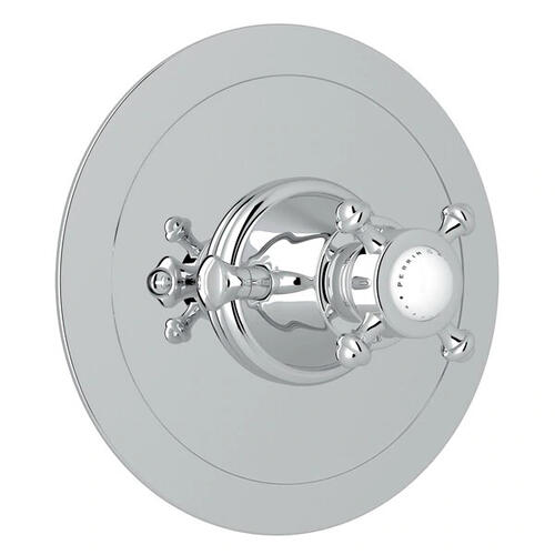 Georgian Era Round Thermostatic Trim Plate without Volume Control - Polished Chrome with Cross Handle
