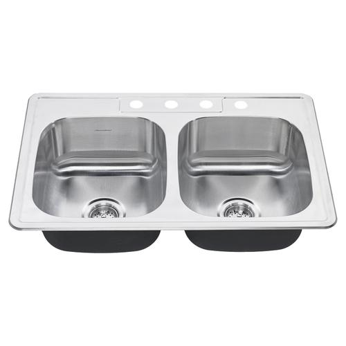 American Standard - Colony 33x22 Double Bowl Stainless Steel Kitchen Sink  4 Holes  American Standard - Stainless Steel