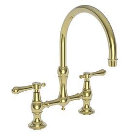 Uncoated Polished Brass - Living Kitchen Bridge Faucet
