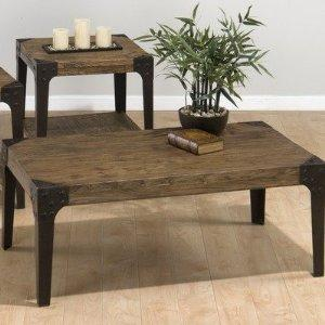 Square End Table W/ Shelf and Industrial Style Legs