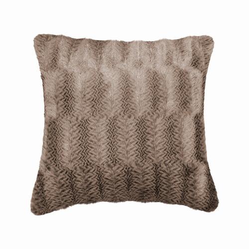 Fun Fur Alt Lines Cushion - Brown