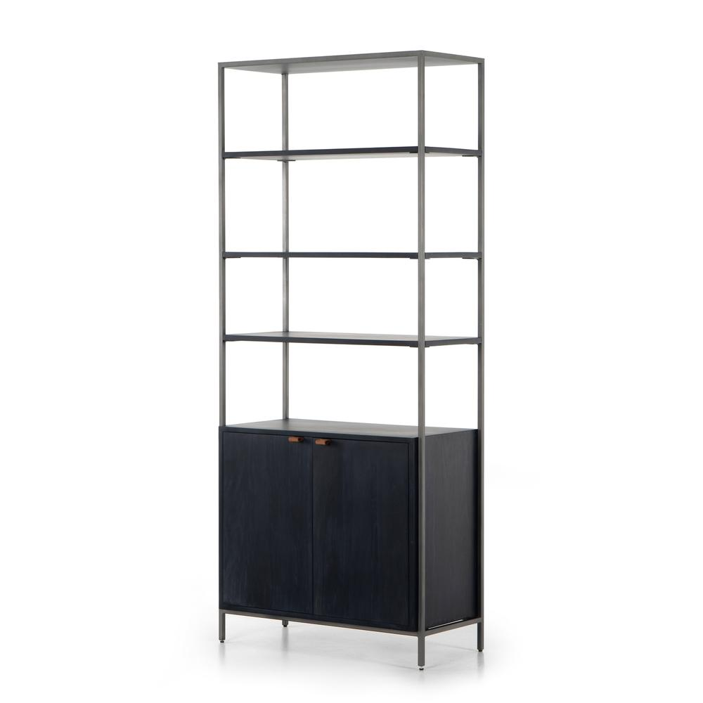 Black Wash Finish Trey Modular Wide Bookcase