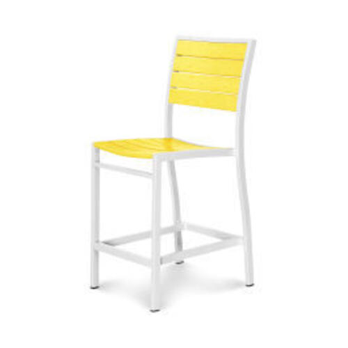 Polywood Furnishings - Eurou2122 Counter Side Chair in Satin White / Lemon