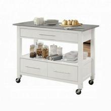 ACME Ottawa Kitchen Cart - 98330 - Stainless Steel & White