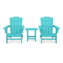 View Product - Wave 3-Piece Adirondack Chair Set with The Crest Chairs in Vintage Aruba