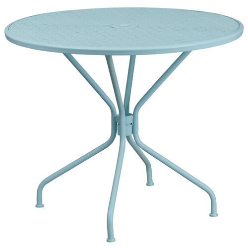 35.25'' Round Sky Blue Indoor-Outdoor Steel Patio Table