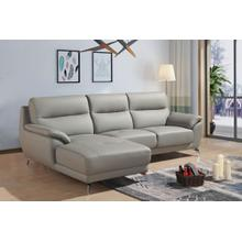 Product Image - Divani Casa Fortson Modern Grey Eco-Leather Sectional Sofa w/ Left Facing Chaise