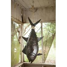 See Details - recycled hand hammered metal 3 dimensional tuna with sisal rope