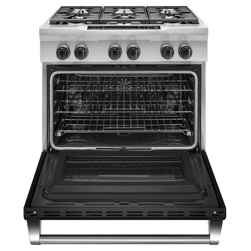 KitchenAid - 36'' 6-Burner Dual Fuel Freestanding Range, Commercial-Style Imperial Black