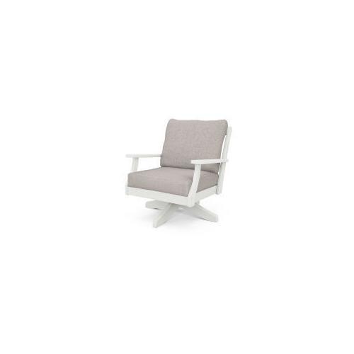 Braxton Deep Seating Swivel Chair in Vintage White / Weathered Tweed