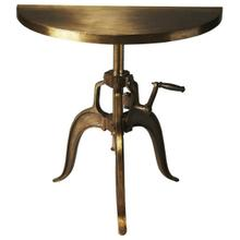 This demilune console evokes the charm of the industrial revolution. Crafted from iron, it features a distinctive hand crank mechanism that adjusts the table height and an antique bronze finish.