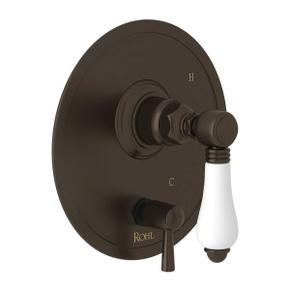 Pressure Balance Trim with Diverter - Tuscan Brass with White Porcelain Lever Handle