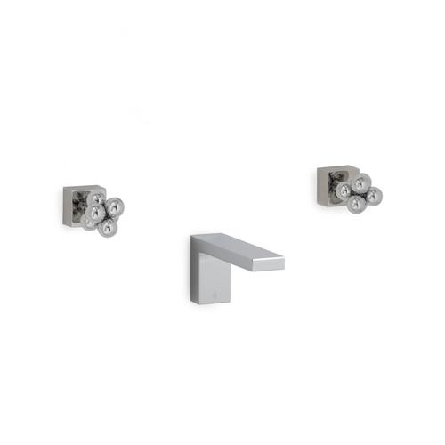 Brushed Nickel Modern with Molecule Knob Wall Mount Tub Set