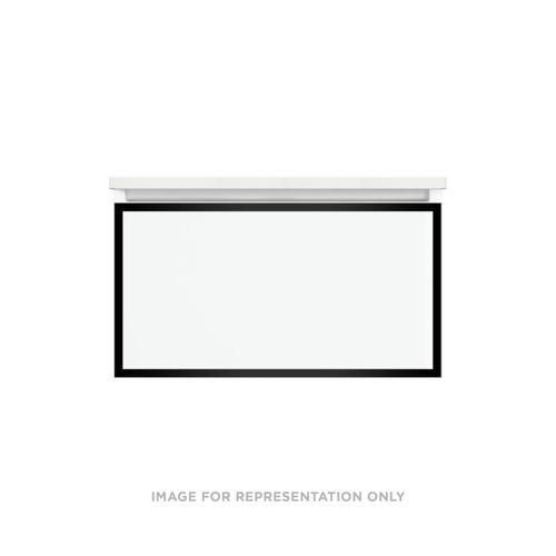 "Profiles 30-1/8"" X 15"" X 18-3/4"" Modular Vanity In Matte White With Matte Black Finish and Slow-close Plumbing Drawer"