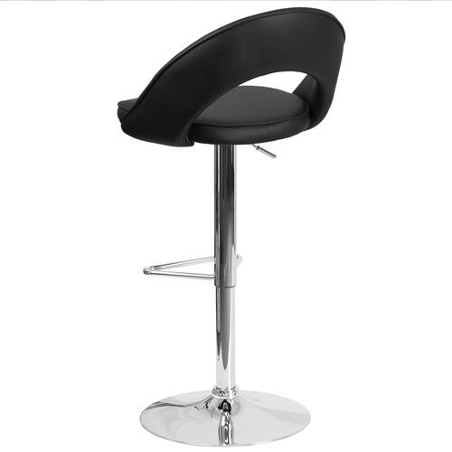 Contemporary Black Vinyl Rounded Back Adjustable Height Barstool with Chrome Base