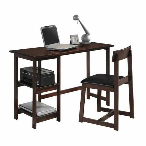 ACME Vance 2Pc Pack Desk & Chair - 92046 - Black PU & Espresso