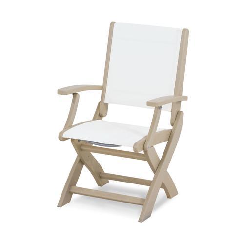 Sand & White Coastal Folding Chair