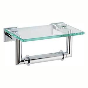 Polished Chrome Double Post Toilet Tissue Holder with Cover Product Image