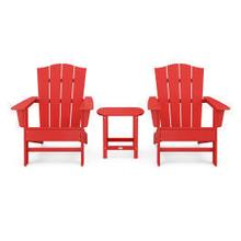 View Product - Wave 3-Piece Adirondack Chair Set with The Crest Chairs in Vintage Sunset Red