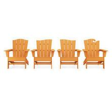 View Product - Wave Collection 4-Piece Adirondack Chair Set in Tangerine