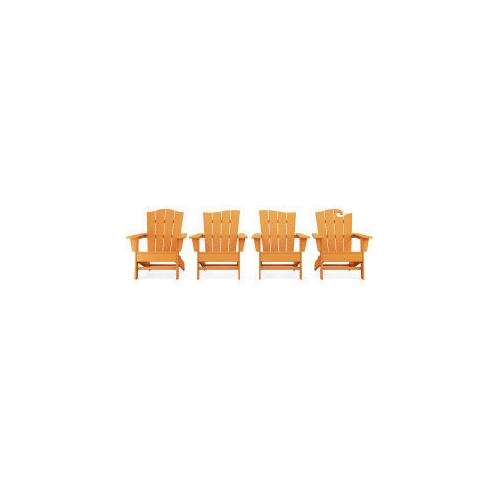 Polywood Furnishings - Wave Collection 4-Piece Adirondack Chair Set in Tangerine