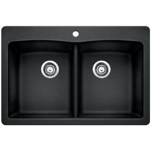 Diamond Equal Double Bowl With Ledge - Anthracite