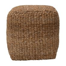 """Product Image - 16"""" Square Hand-Woven Seagrass Pouf"""