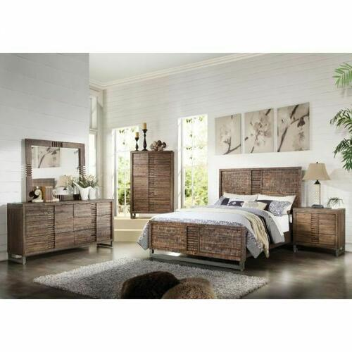 ACME Andria Eastern King Bed - 21287EK - Reclaimed Oak