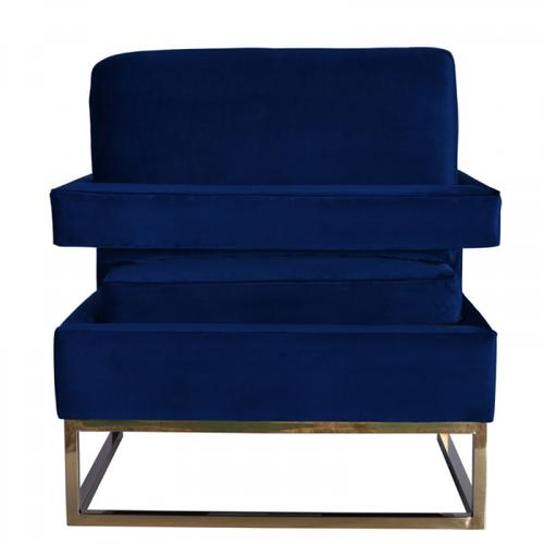 Gallery - Modrest Edna Modern Blue Velvet & Gold Accent Chair