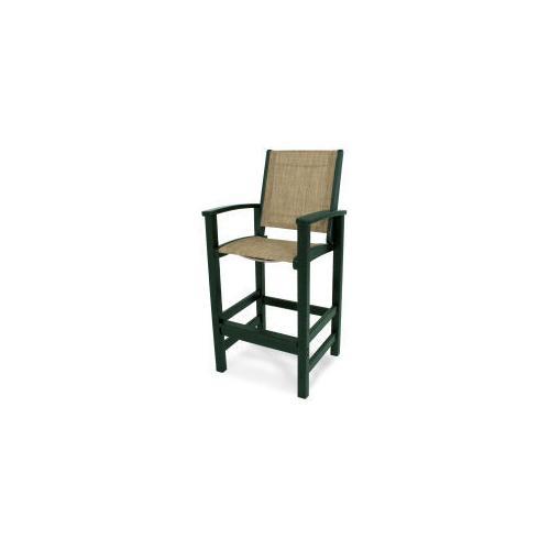 Polywood Furnishings - Coastal Bar Chair in Green / Burlap Sling