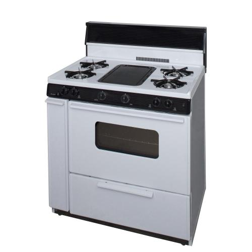 Premier - 36 in. Freestanding Battery-Generated Spark Ignition Gas Range in White