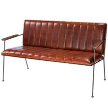 "This vintage leather and wood bench is likely to get your motor running and head out on the highway"" Ok, perhaps it won't have you longing for the open road behind the wheel of a classic automobile, but it is a fantastic seating option in an entryway, kitchen, den, or even at the end of a bed, and certain to inspire interest in any space. On a sturdy black finished iron frame, it features a broken-in channel leather padded seat and back with textured mango wood arm rests."