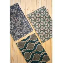 See Details - set of three blues and greens jute braided rugs