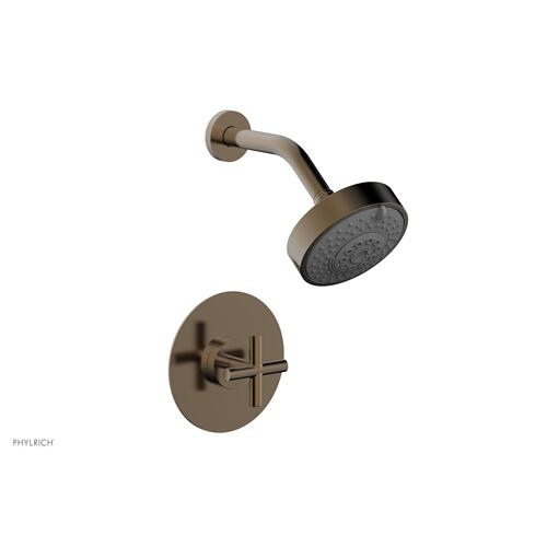 Phylrich - TRANSITION - Pressure Balance Shower Set - Cross Handle 120-21 - Antique Brass