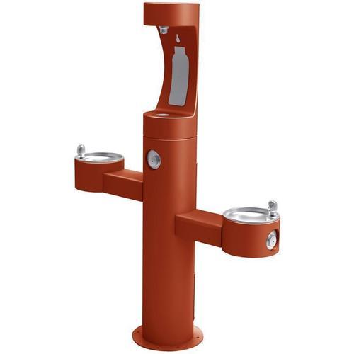 Elkay - Elkay Outdoor EZH2O Bottle Filling Station Tri-Level Pedestal, Non-Filtered Non-Refrigerated Terracotta
