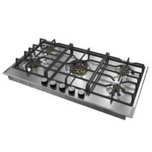 "Verona 36"" Designer Gas Cooktop-Brass Burners SS"