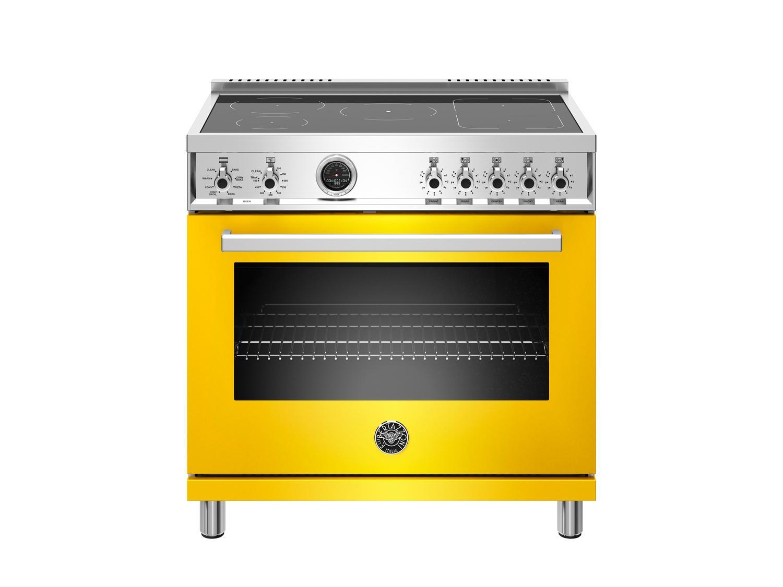 Bertazzoni36 Inch Induction Range, 5 Heating Zones, Electric Self-Clean Oven Giallo
