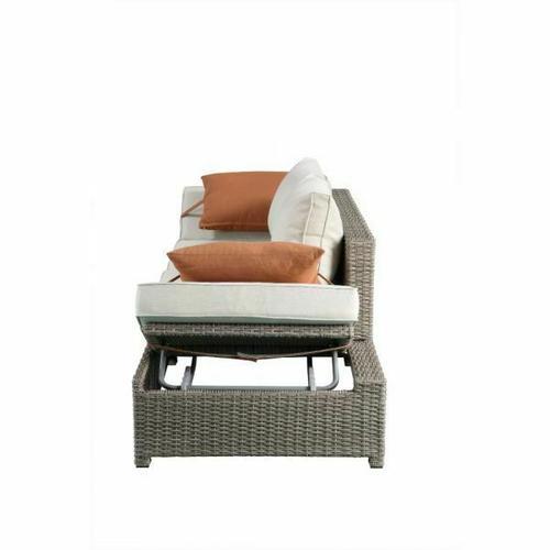 ACME Salena Patio Sofa & Ottoman w/2 Pillows - 45015 - Beige Fabric & Gray Wicker
