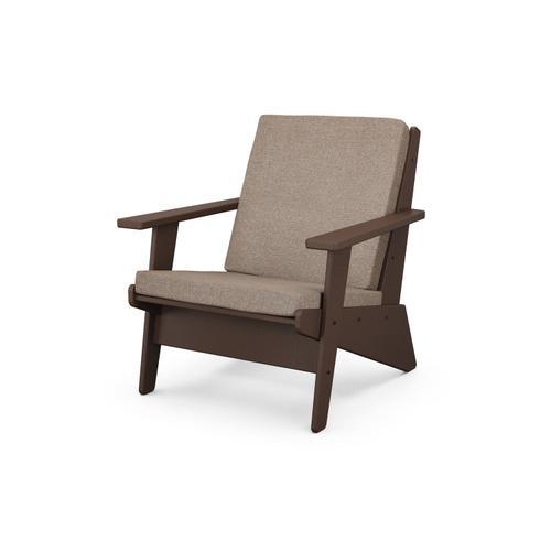 Mahogany & Spiced Burlap Riviera Modern Lounge Chair