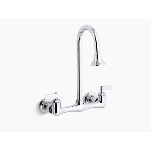 Polished Chrome Double Lever Handle Utility Sink Faucet With Rosespray Gooseneck Spout