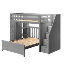 See Details - All in One Staircase Loft Bed Storage + Full Bed Grey