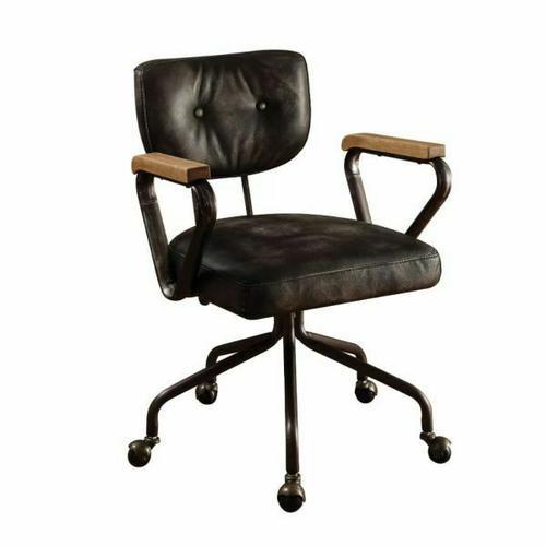 ACME Hallie Executive Office Chair - 92411 - Vintage Black Top Grain Leather
