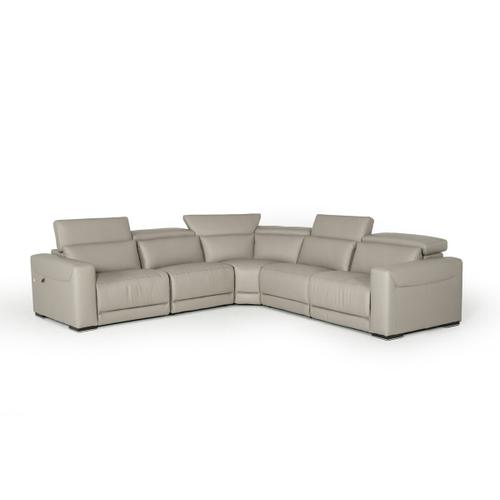Gallery - Estro Salotti Thelma - Italian Modern Grey Leather Sectional Sofa with Recliners