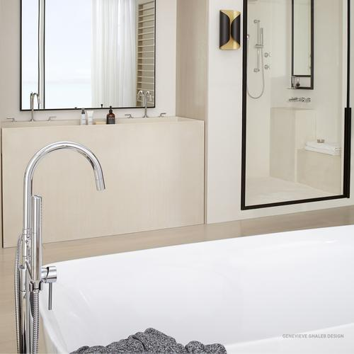 Contemporary Round Freestanding Tub Filler with Hand Shower  American Standard - Polished Chrome