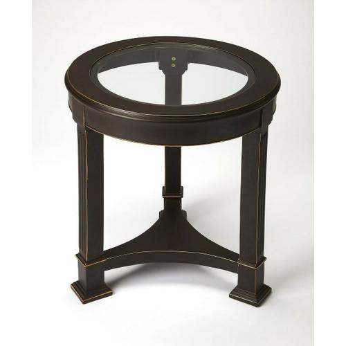 Enhance any living or office space with this understated end table. Made from cast aluminum with a clear tempered glass top, its traditional styling and black finish with gold highlights is sure to add a sense of distinction to any space.